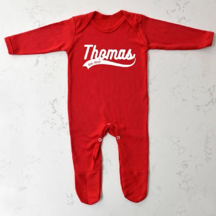 Personalised Red Retro Baby Grow